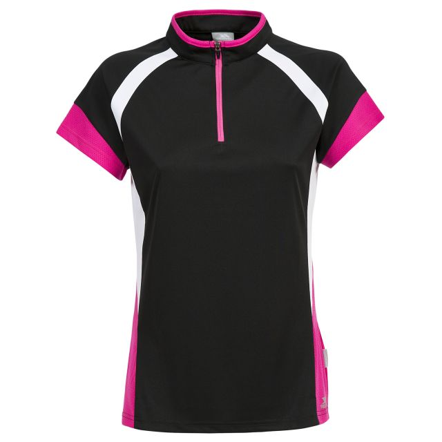 Harpa Women's 1/2 Zip Cycling T-Shirt in Black, Front view on mannequin