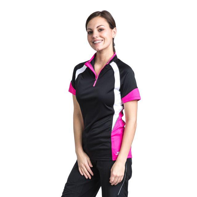 Harpa Women's 1/2 Zip Cycling T-Shirt in Black