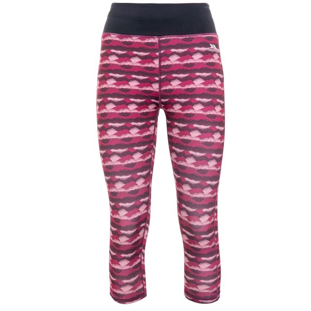 Harper Women's Printed Active Leggings in Red, Front view on mannequin