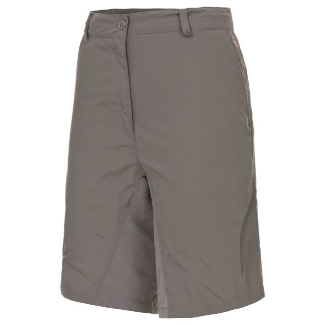 Hashtag Women's Quick Dry Trekking Shorts in Grey, Front view on mannequin