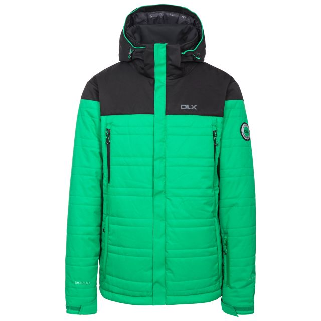 Hayes Men's DLX Waterproof Ski Jacket in Green, Front view on mannequin