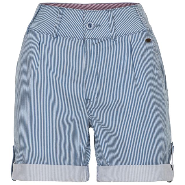 HAZY Women's Cotton Shorts in Light Blue, Front view on mannequin