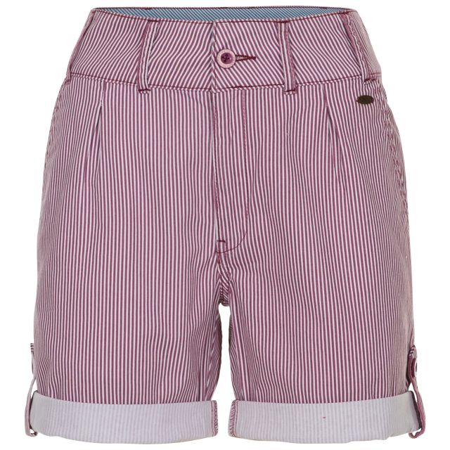 HAZY Women's Cotton Shorts in Pink, Front view on mannequin