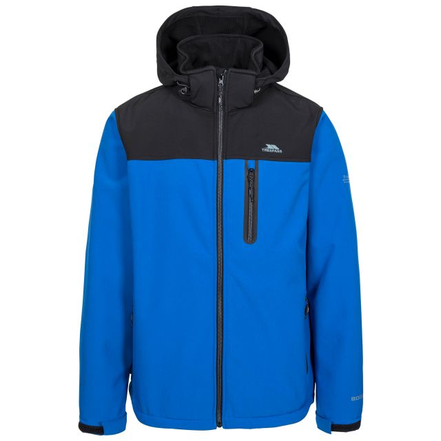 Hebron II Men's Hooded Softshell Jacket in Blue, Front view on mannequin