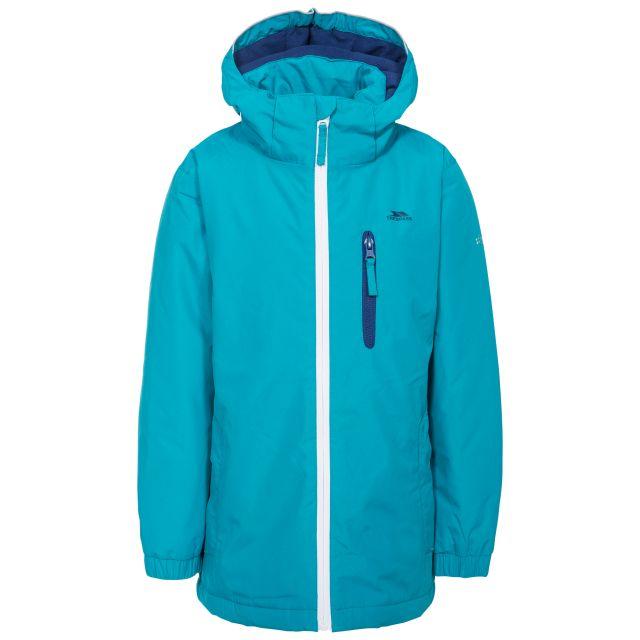 Heddar Kids' Padded Waterproof Jacket in Blue, Front view on mannequin