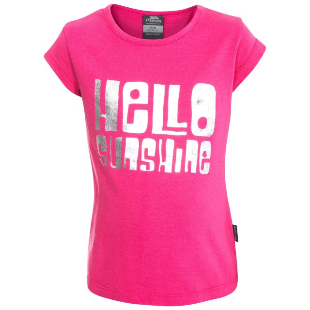 Hello Sunshine Kids' Printed T-Shirt in Pink, Front view on mannequin