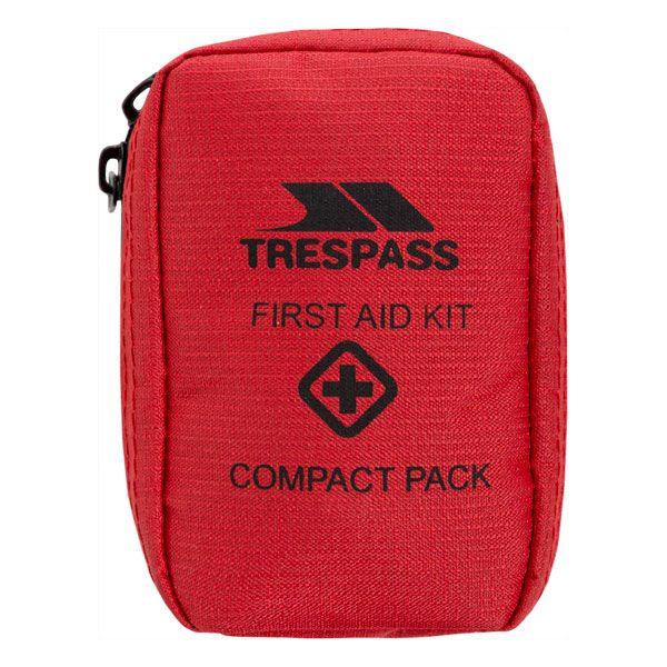 Trespass Mini First Aid Kit Travel Compact Pocket Red, Front view