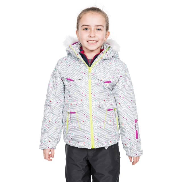Trespass Kids Printed Ski Jacket in White Hickory
