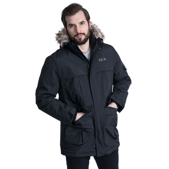 DLX Mens Waterproof Parka Jacket with Down Highland Black