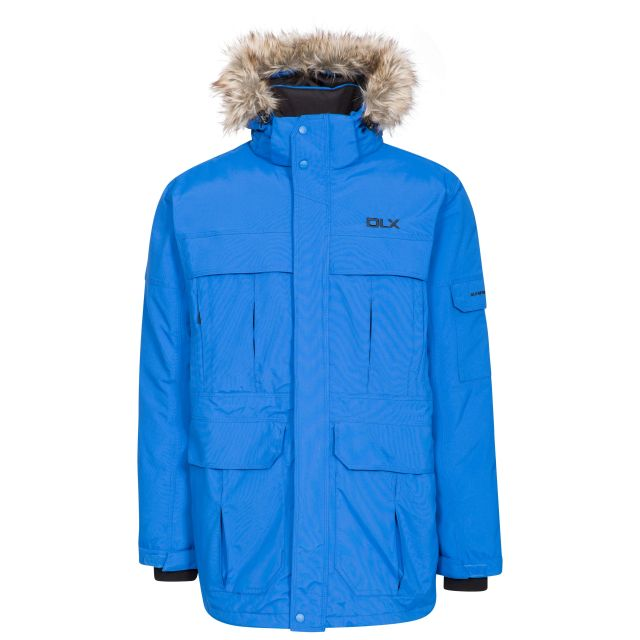 DLX Mens Waterproof Parka Jacket with Down Highland Blue, Front view on mannequin