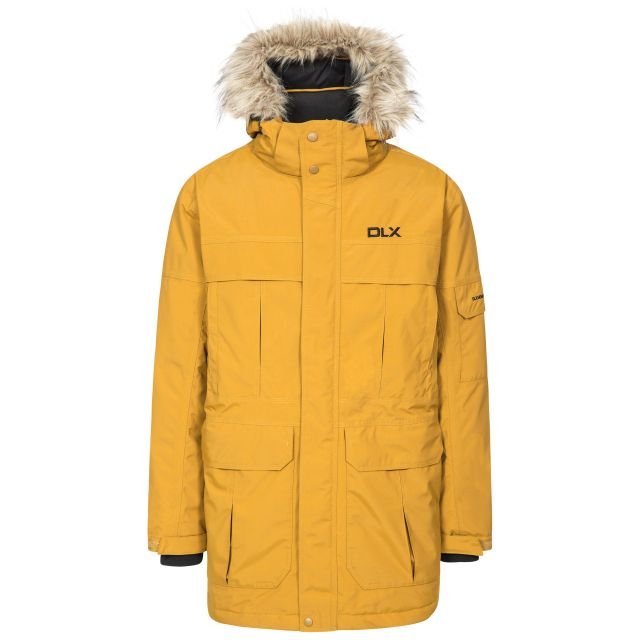 DLX Mens Waterproof Parka Jacket with Down Highland Yellow, Front view on mannequin