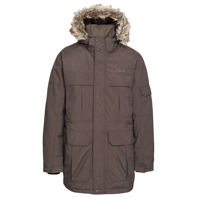 DLX Mens Waterproof Parka Jacket with Down Highland Khaki, Front view on mannequin