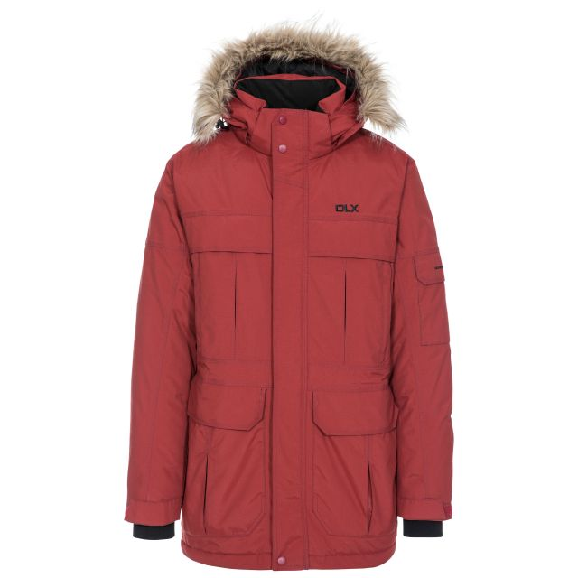DLX Mens Waterproof Parka Jacket with Down Highland Red, Front view on mannequin