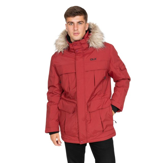 DLX Mens Waterproof Parka Jacket with Down Highland Red