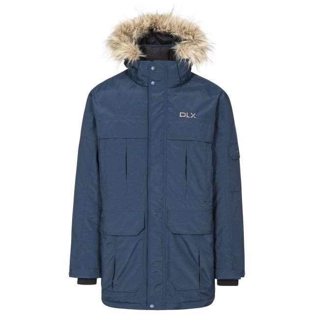 DLX Mens Waterproof Parka Jacket with Down Highland Navy, Front view on mannequin