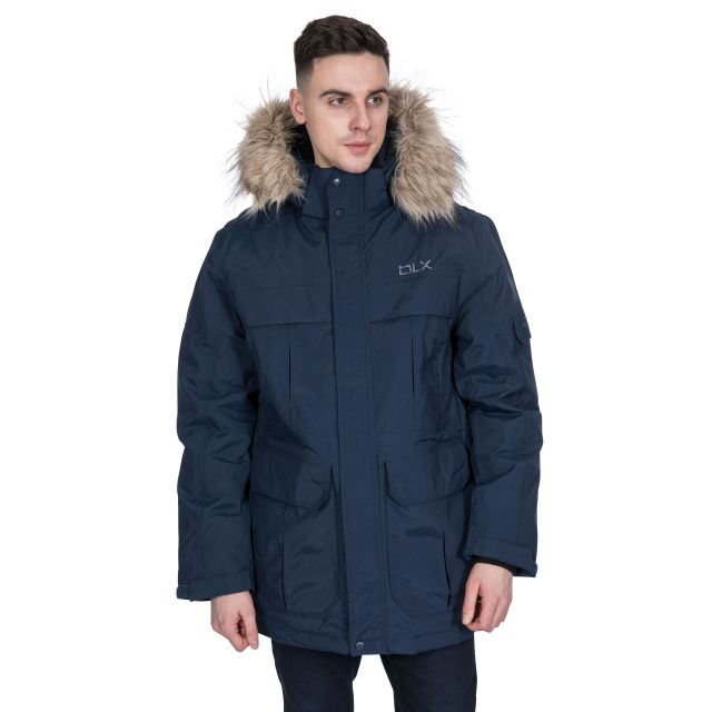 DLX Mens Waterproof Parka Jacket with Down Highland Navy