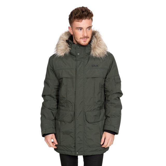 DLX Mens Waterproof Parka Jacket with Down Highland Khaki