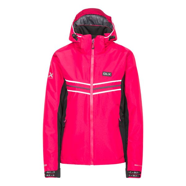 DLX Womens Ski Jacket Hildy in Pink, Front view on mannequin