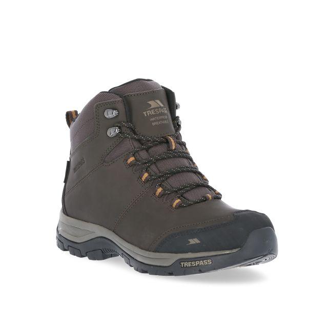 Hiram Men's Waterproof Walking Boots in Brown, Angled view of footwear