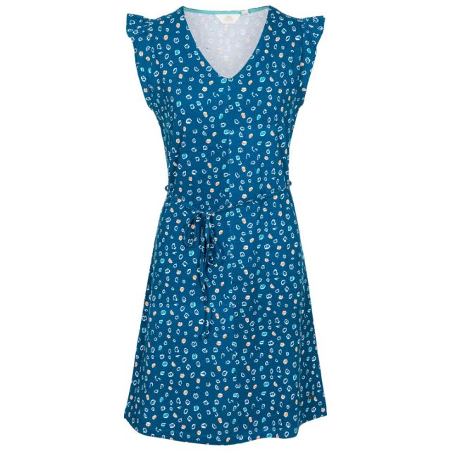 Holly Women's Short Sleeve Dress in Blue, Front view on mannequin