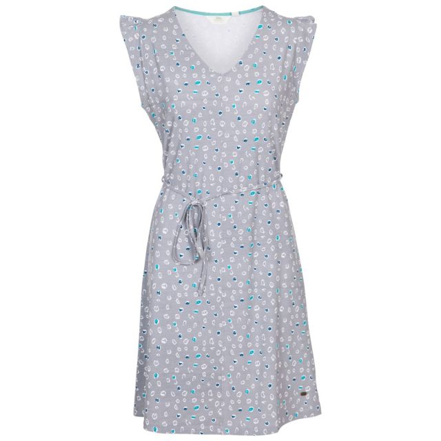 Holly Women's Short Sleeve Dress in Light Grey, Front view on mannequin