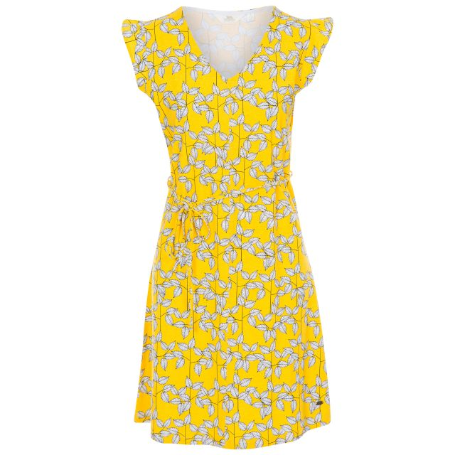 Holly Women's Short Sleeve Dress in Yellow, Front view on mannequin