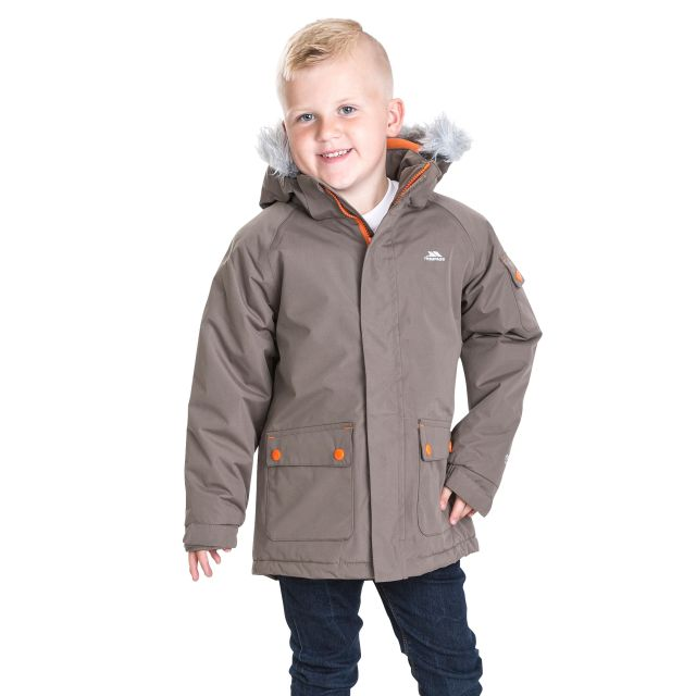 Trespass Boys Waterproof Parka Jacket in Brown Holsey