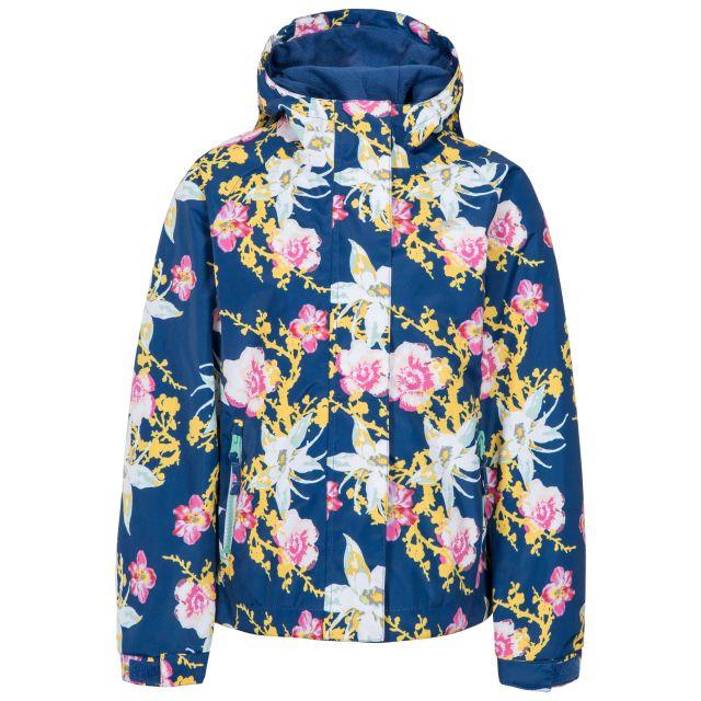Hopeful Girls' Waterproof Jacket in Dark Blue, Front view on mannequin