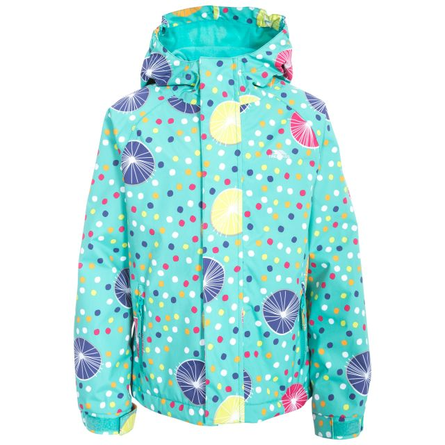 Hopeful Girls' Waterproof Jacket  in Light Blue, Front view on mannequin