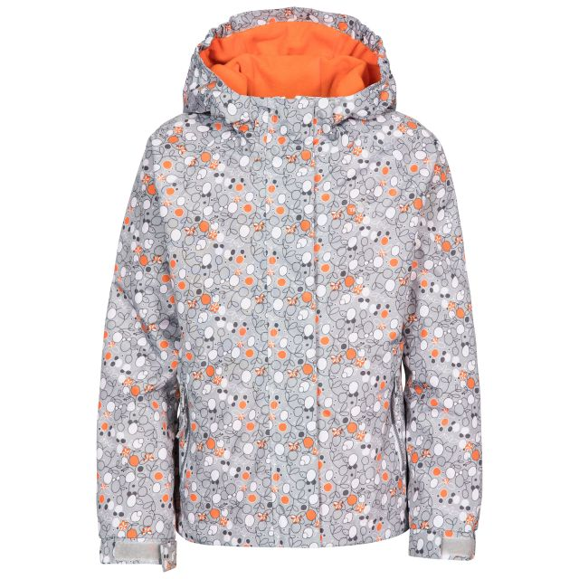 Hopeful Girls' Waterproof Jacket  in Grey, Front view on mannequin
