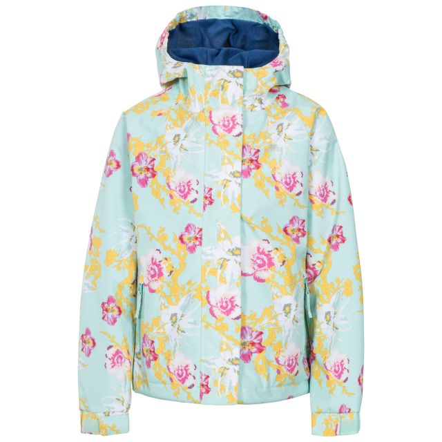 Hopeful Girls' Waterproof Jacket  in Light Green, Front view on mannequin