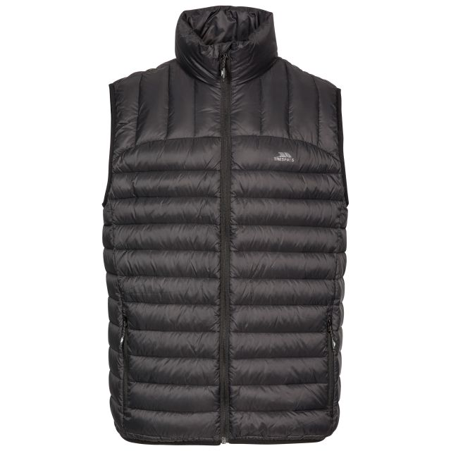 Hoppers Men's Lightweight Down Gilet in Black, Front view on mannequin