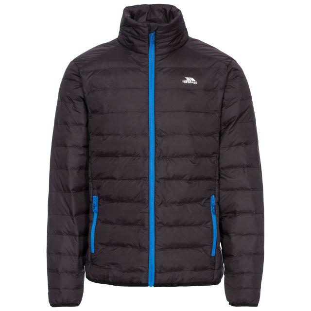 Howat Men's Lightweight Packaway Jacket in Black, Front view on mannequin