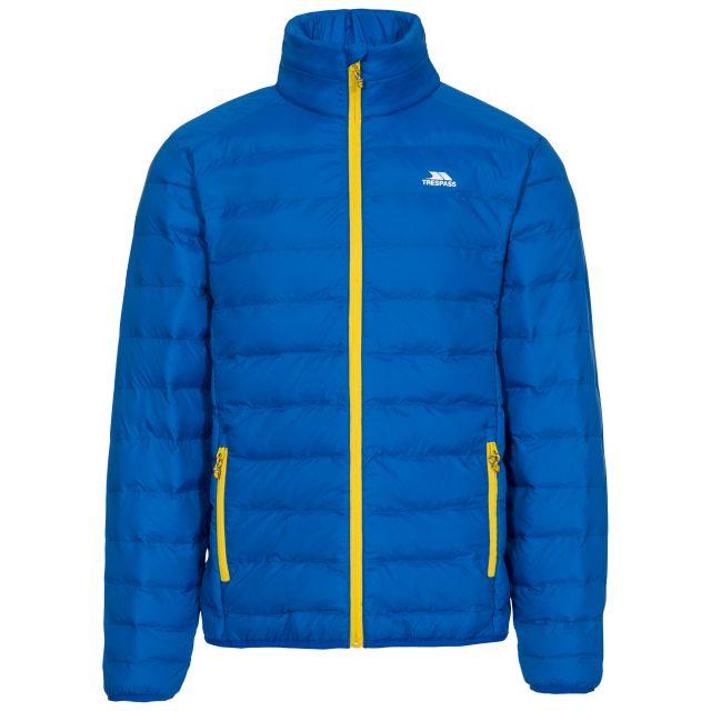 Howat Men's Lightweight Packaway Jacket in Blue, Front view on mannequin