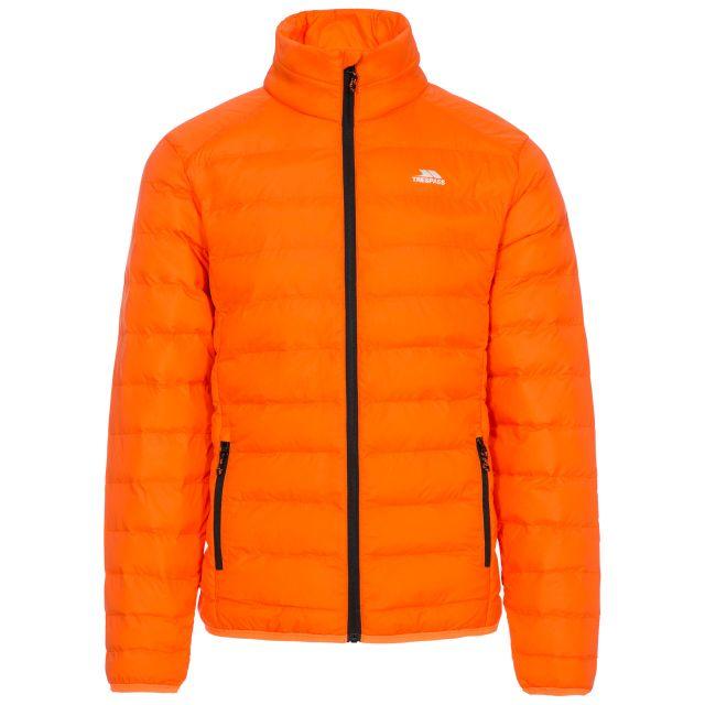 Howat Men's Lightweight Packaway Jacket in Orange, Front view on mannequin