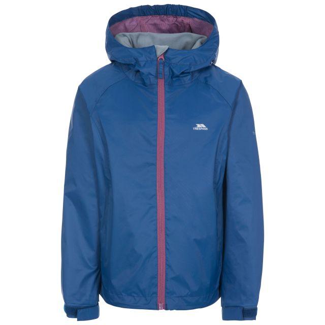 Impressed Kids' Waterproof Jacket in Blue, Front view on mannequin