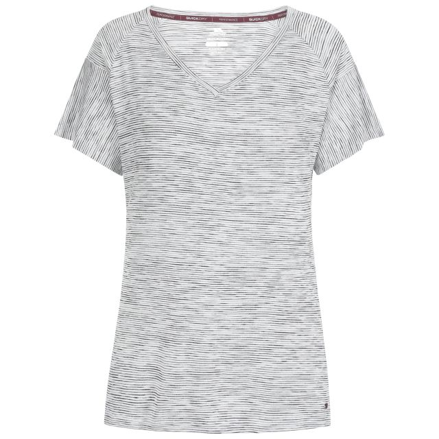 Inca Women's V-Neck T-Shirt in Black, Front view on mannequin