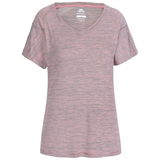 Inca Women's V-Neck T-Shirt in Purple, Front view on mannequin