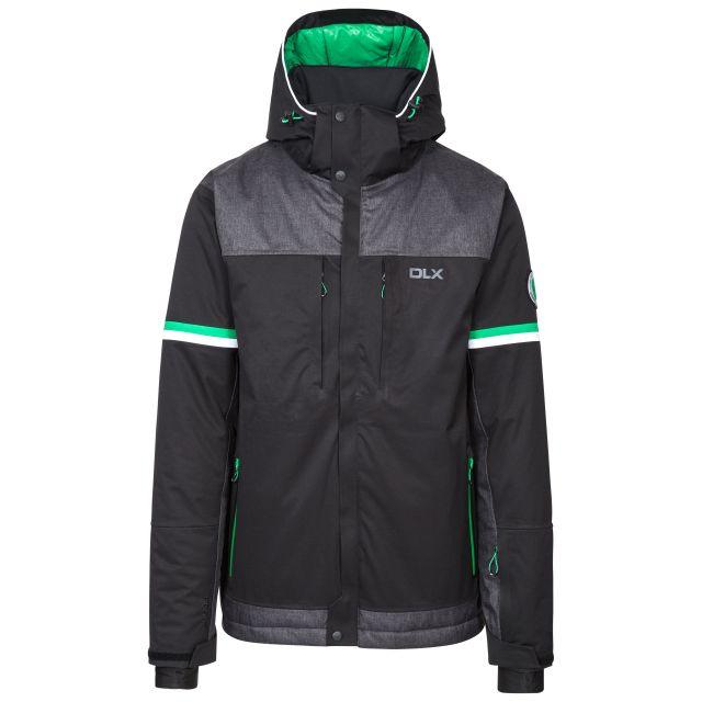 Izard Men's DLX Waterproof Ski Jacket in Black, Front view on mannequin