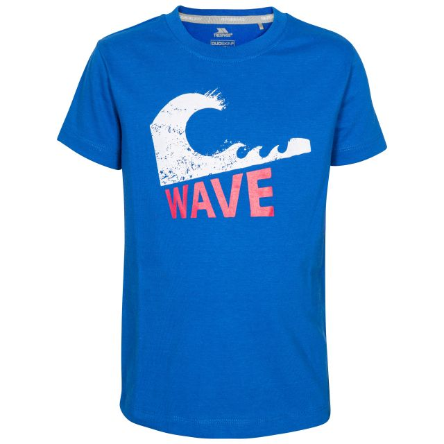 Jakob Kids' Printed T-Shirt in Blue, Front view on mannequin