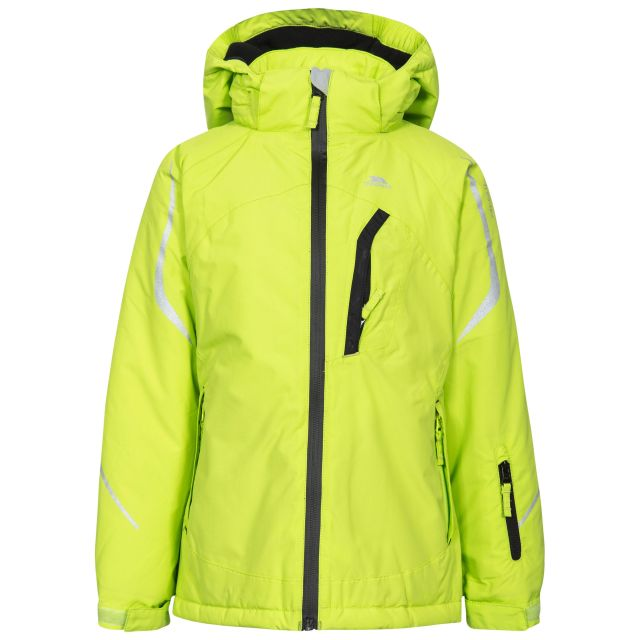 Jala Girls' Ski Jacket in Green, Front view on mannequin