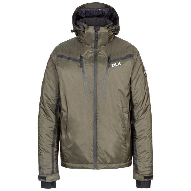Jasper Men's DLX Waterproof Ski Jacket in Olive, Front view on mannequin