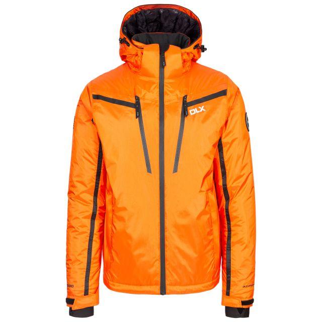 Jasper Men's DLX Waterproof Ski Jacket in Orange, Front view on mannequin