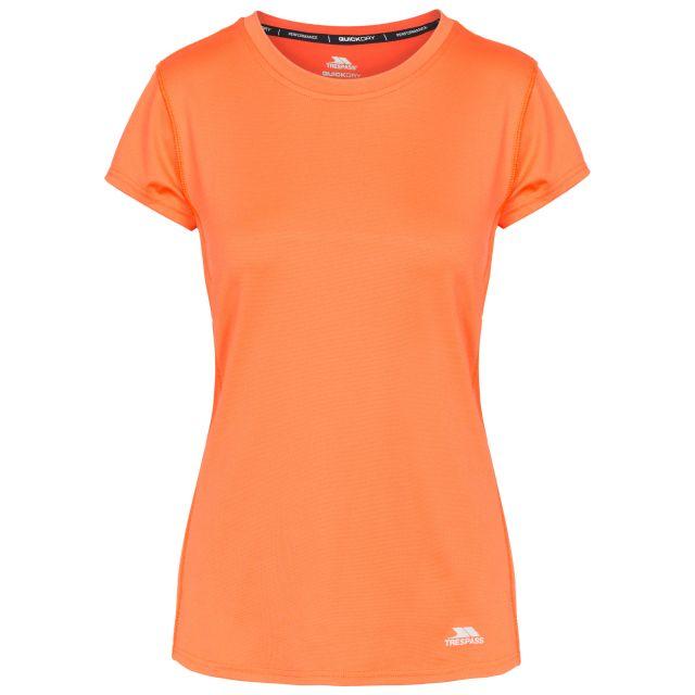 Jaylee Women's Active T-Shirt in Peach, Front view on mannequin