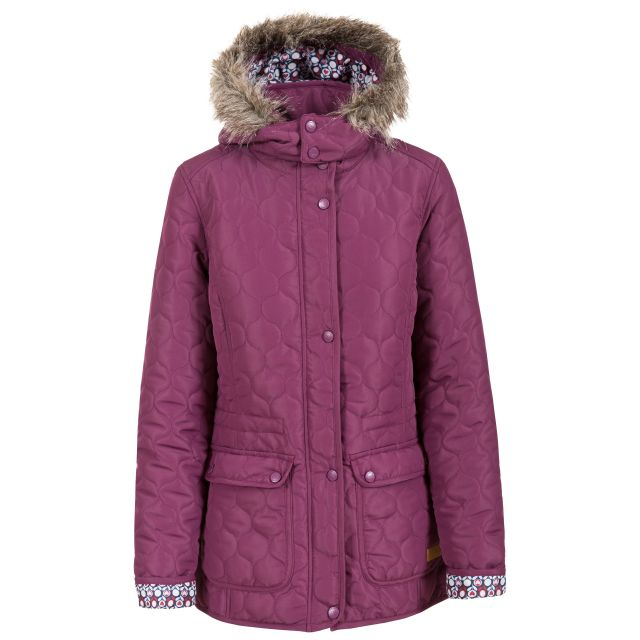 Trespass Womens Casual Jacket Jenna in Burgundy, Front view on mannequin