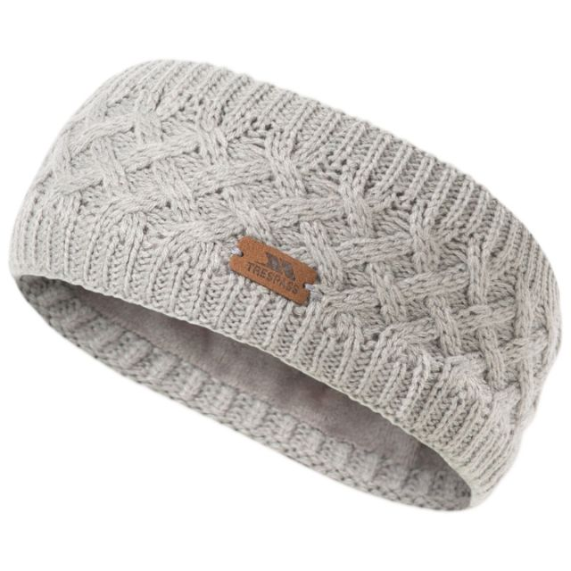 Trespass Adults Headband Microfleece Lined Cable Knit Jensen Dark Grey Marl, Hat at angled view