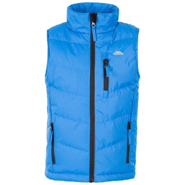 Trespass Kids' Padded Gilet Jacket Jetty Light Blue, Front view on mannequin