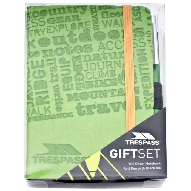 Notebook and Pen Gift Set in Green, Front view