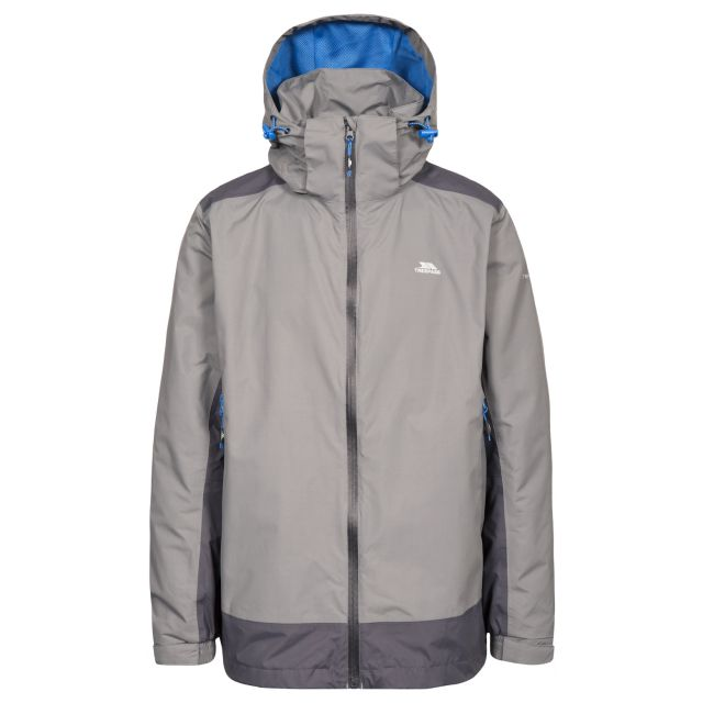 Judah Men's Waterproof Jacket in Grey, Front view on mannequin