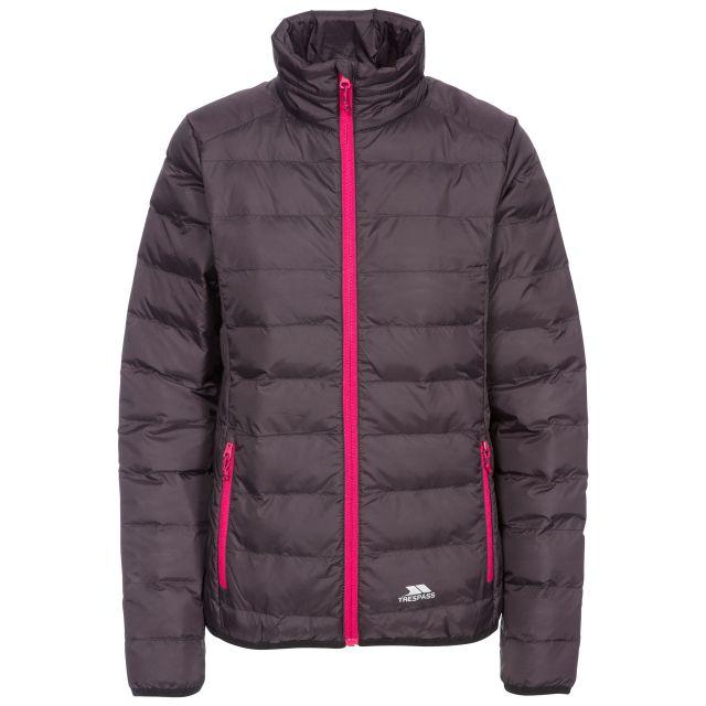 Trespass Womens Packaway Jacket Lightweight Julianna in Black, Front view on mannequin